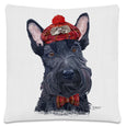 Throw Pillow-18x18-Matching Table Runner-14x54-Heritage Lace-Dapper Dogs-Scottie