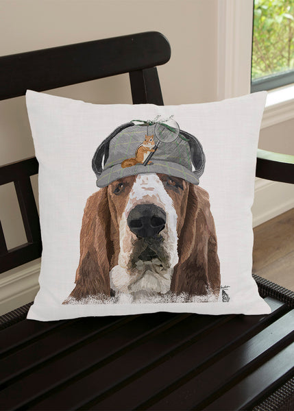 Throw Pillow-Matching Table Runner-Heritage Lace-Dapper Dogs-Basset Hound