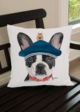 Throw Pillow-18x18-Matching Table Runner-14x54-Heritage Lace-Dapper Dogs-French Bulldog