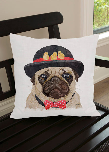Throw Pillow-18x18-Matching Table Runner-14x54-Heritage Lace-Dapper Dogs-Pug