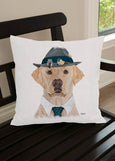 Throw Pillow-18x18-Matching Table Runner-14x54-Heritage Lace-Dapper Dogs-Yellow Lab