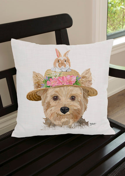 Throw Pillow-18x18-Matching Table Runner-14x54-Heritage Lace-Dapper Dogs-Yorkie