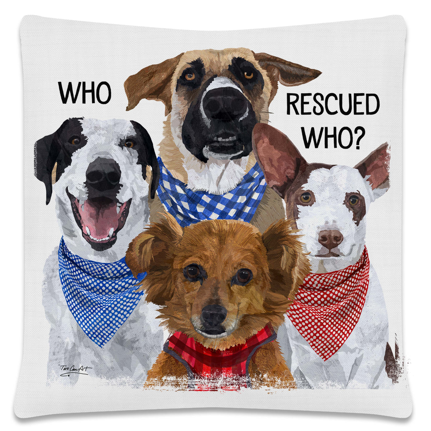 Throw Pillow-18x18-Matching Table Runner-14x54-Heritage Lace-Dapper Dogs-Rescue