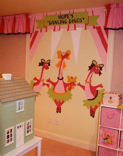 The Dancing Dinos DIY Paint by Number Wall Mural by Elephants on the Wall - Seasonal Expressions - 1