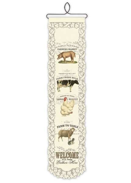Wall Hanging-Country Life-Farm Animal Welcome-Heritage Lace