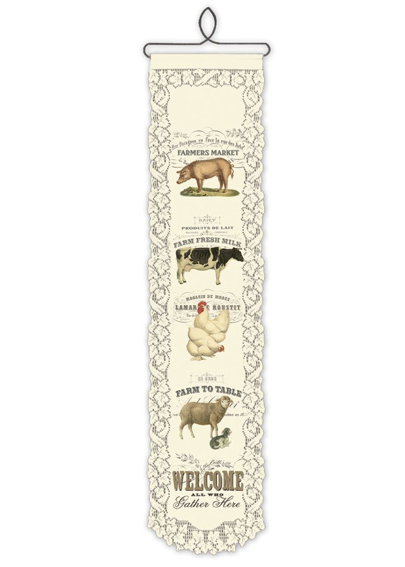 Country Life-Wall Hanging-Farm Animal Welcome-Heritage Lace