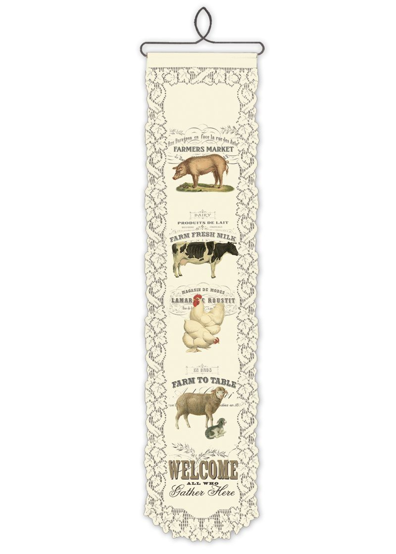 Wall Hanging-Country Life-Heritage Lace-Farm Animal Welcome