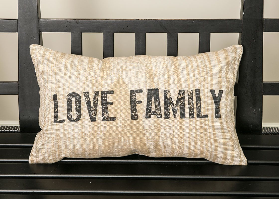 Throw Pillow-12x20-Farmhouse-Love-Family-Country Life-Heritage Lace