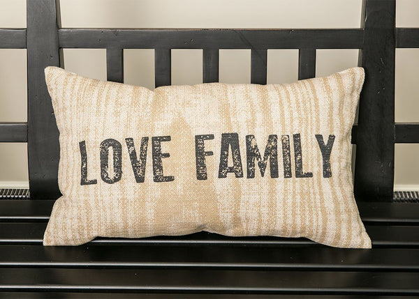 Throw Pillow-12x20-Farmhouse-Love Family-Heritage Lace