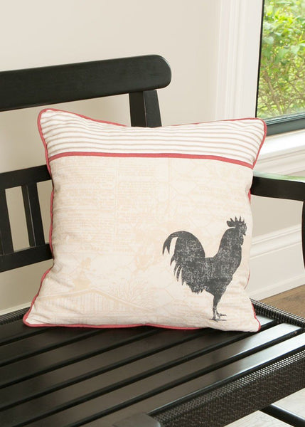 18x18 Throw Pillow-Choice-Cow or Rooster-Heritage Lace