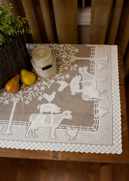 Tablecloth-42x42 Table Topper-Farmhouse-Heritage Lace