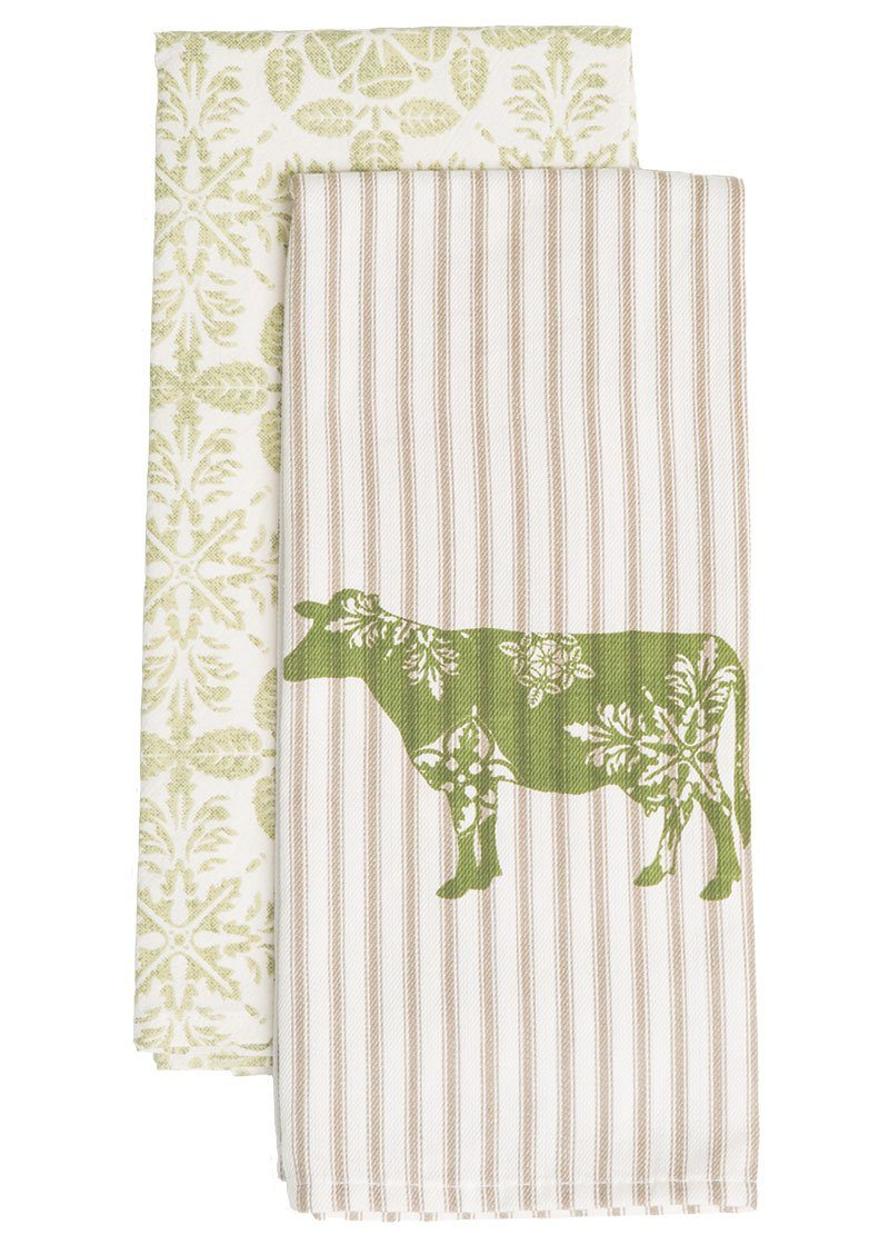 Tea Towels-Set of 2-18x26-Farmhouse-Cow-Country Life-Heritage Lace