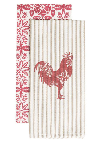 Tea Towels-Set of 2-18x26-Farmhouse-Rooster-Heritage Lace-Country Life
