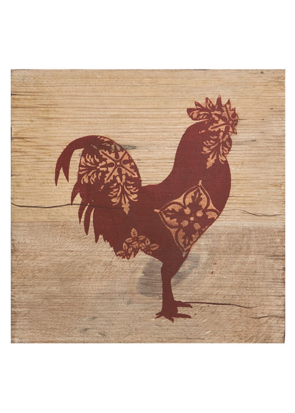 Country Life-Farmhouse-9 x 9-Rooster-Wood Plaque