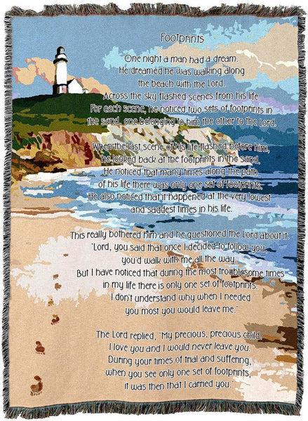 Christian Decor-Throw Blanket-54 x 72-Footprints in the Sand
