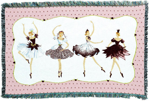 Throw Blanket-35 x 53-Woven-Babies-Children-Four Ballerinas