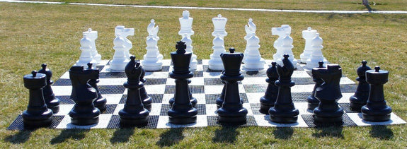 Garden Chessmen on Board-Outdoor-Family Chess Game
