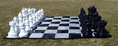 Garden Chessmen on Mat-Outdoor Family Chess