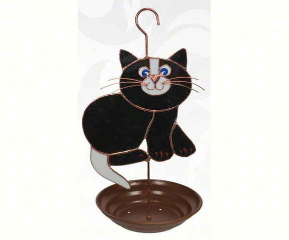 Bird Feeder-Black Cat-Stained Glass