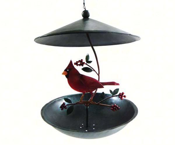 Bird Feeder-Powder Coated Metal-Cardinal-Holly Berries