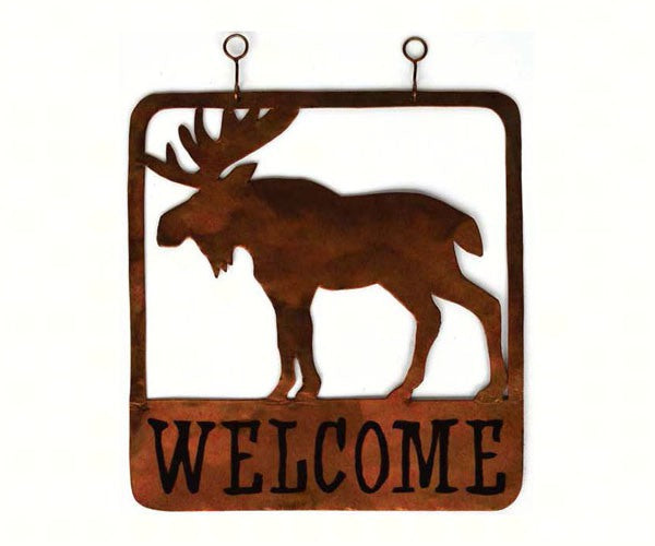 Welcome Sign-Moose-Square OR Round-The Rustic Look