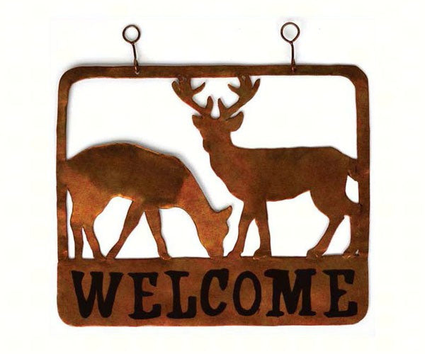 Welcome Sign-Doe and Buck-The Rustic Look