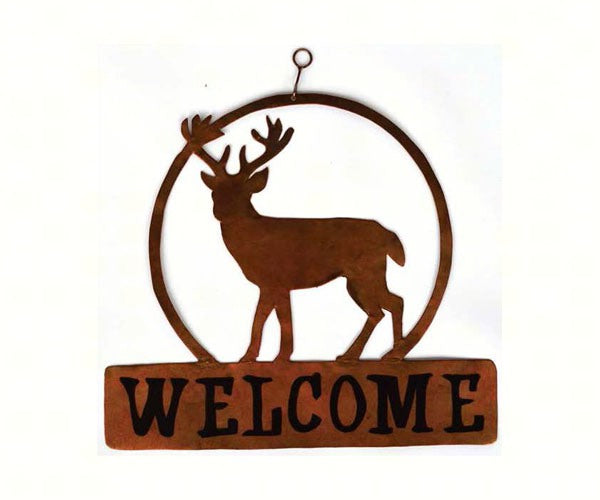 Welcome Sign-Deer-Round-The Rustic Look
