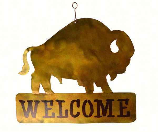 Welcome Sign-Hanging-Bison