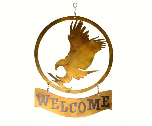 Welcome Sign-Hanging-Eagle-The Rustic Look-Those Who Serve