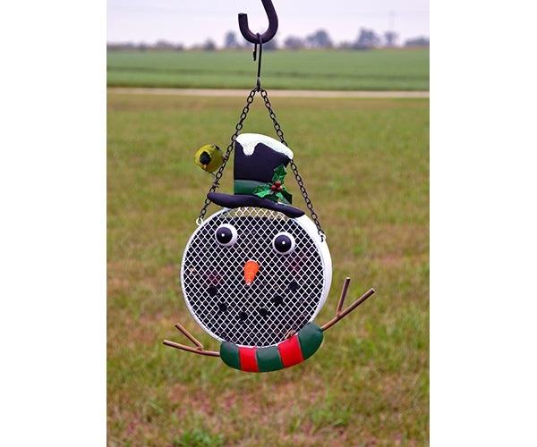 Bird Feeder-Metal-Mesh-Snowman
