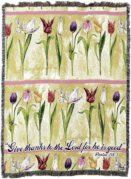 Christian Decor-Throw Blanket-54 x 72-Give Thanks to The Lord