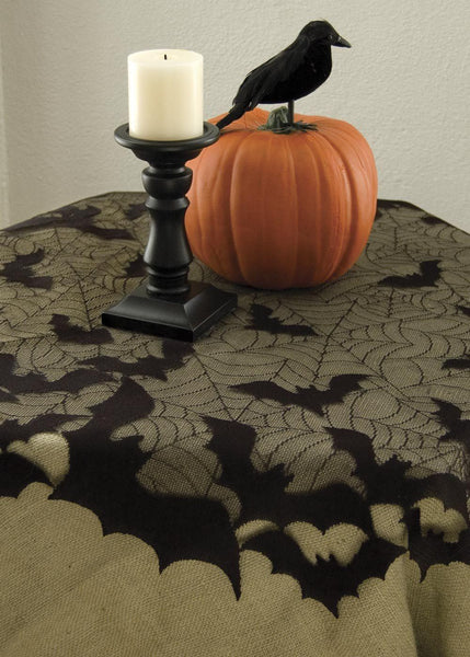 "Halloween-Going Batty-44"" Round Table Topper-Tablecloth-Seasonal"