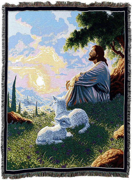 Christian Decor-Throw Blanket-54 x 72-Green Pastures-Jesus-Lamb