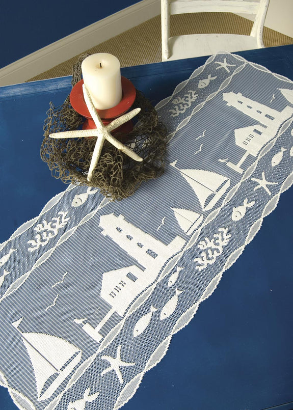 Table Linen-Runner-Dresser Scarf-Set of 2-Nautical-Harbor Lights-Heritage Lace