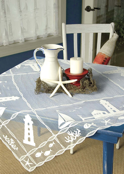 Table Linen-42x42-Table Topper-Heritage Lace-Harbor Lights