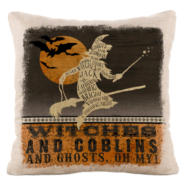 Throw Pillow-18x18-Seasonal-Halloween-Witches-Goblins-Heritage Lace