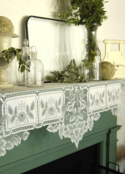 "Table Linen-Mantle Scarf- 20"" x 91""-Heirloom-Heritage Lace"
