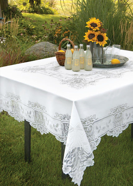 Table Linen-Tablecloth-Table Topper-Choice-Size-Shape-Heirloom-Heritage Lace