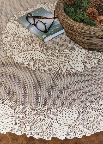 Table Linen-42 inch Round-Table Topper-Heritage Lace-Highland Pine