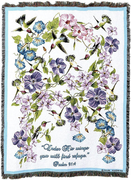 Christian Decor-Throw Blanket-54 x 72-Hummingbird-Psalm 91:4
