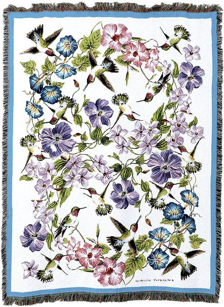 Throw Blanket-54 x 72-Hummingbirds-Flowers