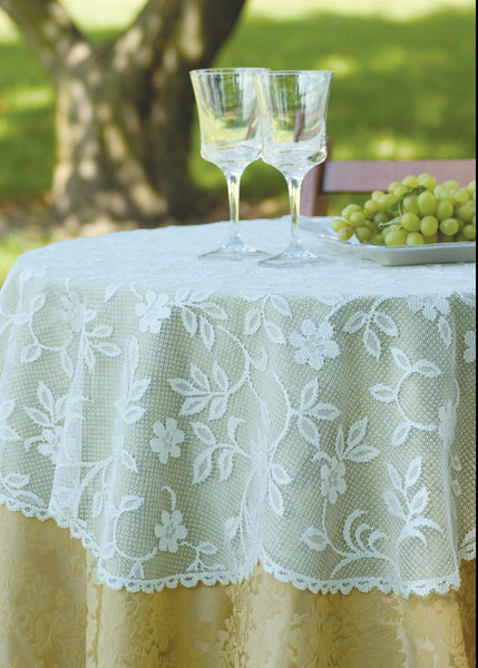 Table Linen-Table Topper-42 inch Round-Heritage Lace-Jasmine
