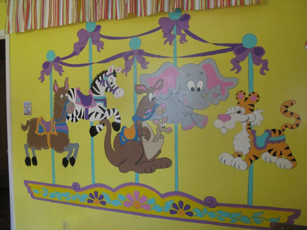 Carousel of Critters, a DIY Paint by Number Wall Mural by Elephants on the Wall - Expressions of Home
