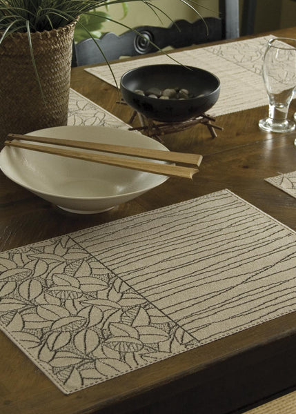Table Linen-Placemats-Set of 4-14 x 20-Heritage Lace-Leaf Lines