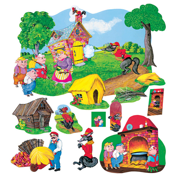 Early Learning-Flannelboards-The Three Pigs-Deluxe Set