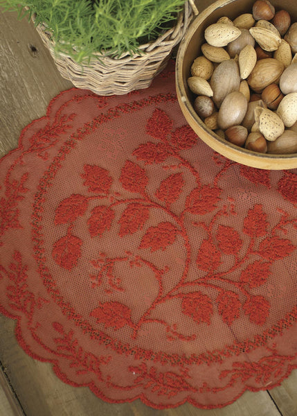 Table Linen-Doily-Set of 2-14 inch Round-Laurel-Heritage Lace