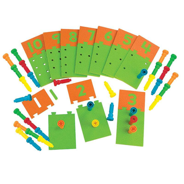 Number Puzzle-Boards and Pegs 10 Boards 55 Pegs Storage Tub for Ages 3 and Up - Seasonal Expressions