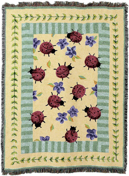 Throw Blanket-54 x 72-Lady Bug Garden