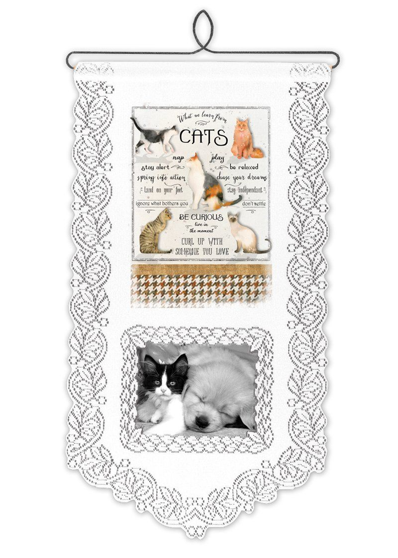Wall Hanging-Pet Lover-Heritage Lace-Learn From Cats