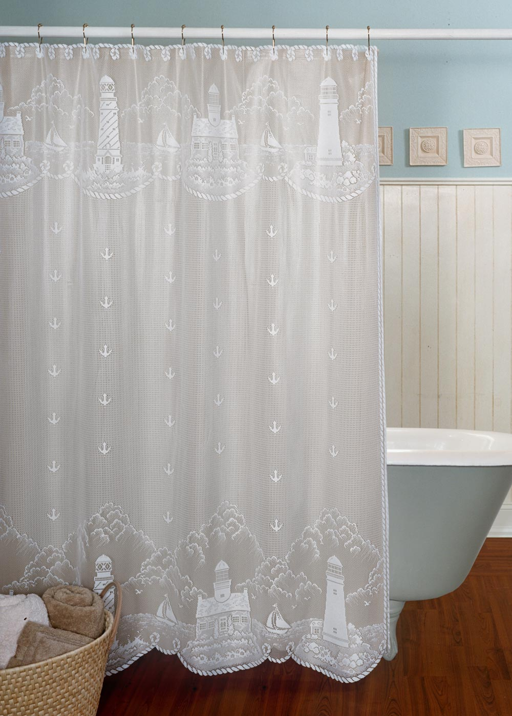 Shower Curtain-Heritage Lace-Nautical-Lighthouse